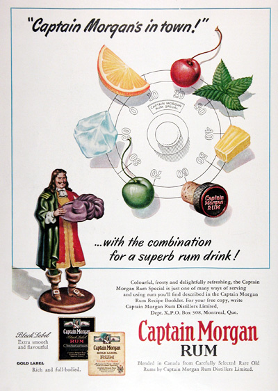 1954 Captain Morgan Rum Vintage Ad #025384