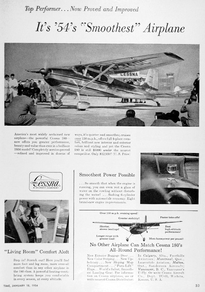 1954 Cessna 180 Airplane Vintage Ad #025385