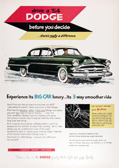 1954 Dodge Mayfair Sedan Vintage Ad #001940