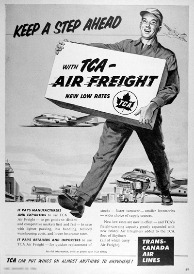 1954 TCA Air Freight Vintage Ad #025405