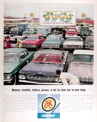 1964 Chevrolet OK Used Car Lot Vintage Ad #011592