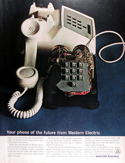 1964 Western Electric Touch Tone Telephone Vintage Ad #011569