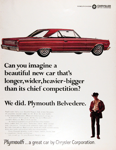 1966 Plymouth Belvedere Satellite Coupe Vintage Ad #010564