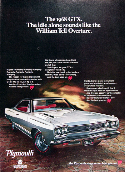 1968 Plymouth GTX Vintage Ad #025487