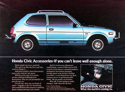 1977 Honda Civic Accessories Vintage Ad #005235