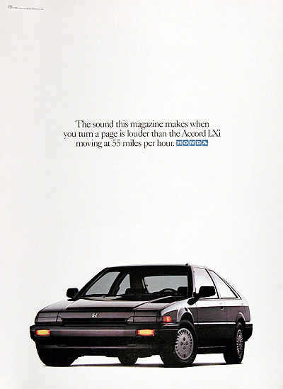 1987 Honda Accord LXi Coupe Vintage Ad #006263