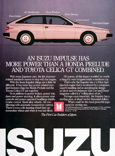 1987 Isuzu Impulse Vintage Ad #006276